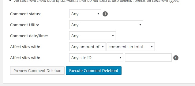 Comment deletion form